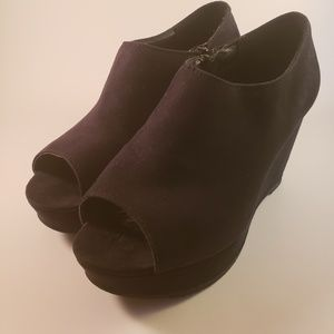 Glo Black Suede Wedge Heels Booties